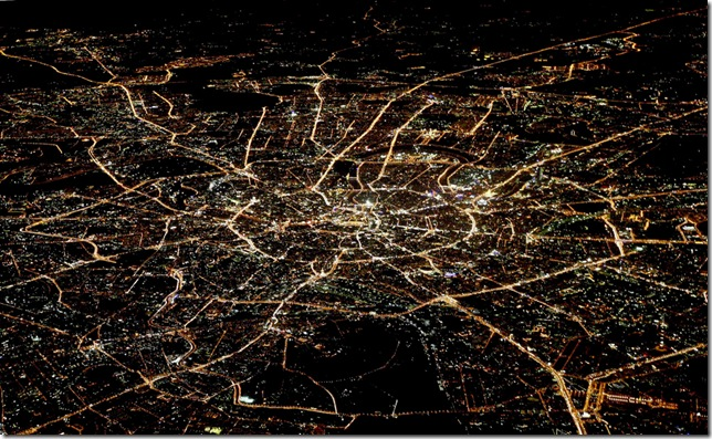 огни Москвы вид Москвы ночной сверху