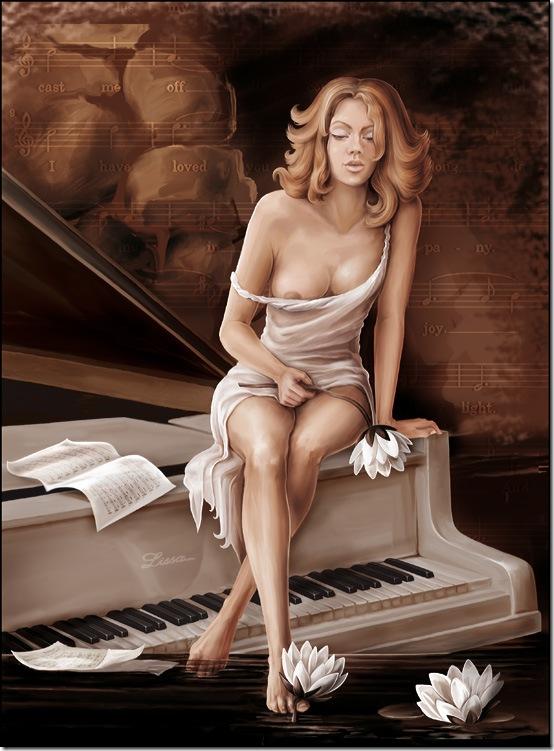 девушка на рояле